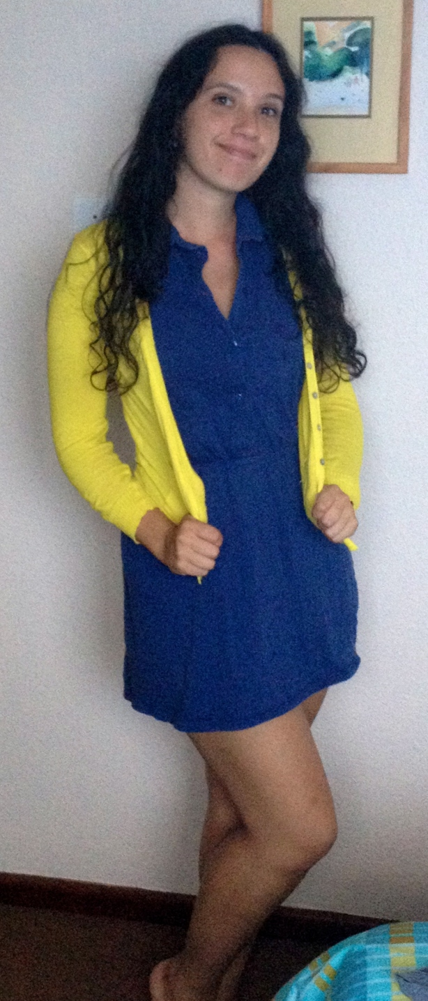 Navy Blue Dress With Yellow Cardigan - Sweater Grey